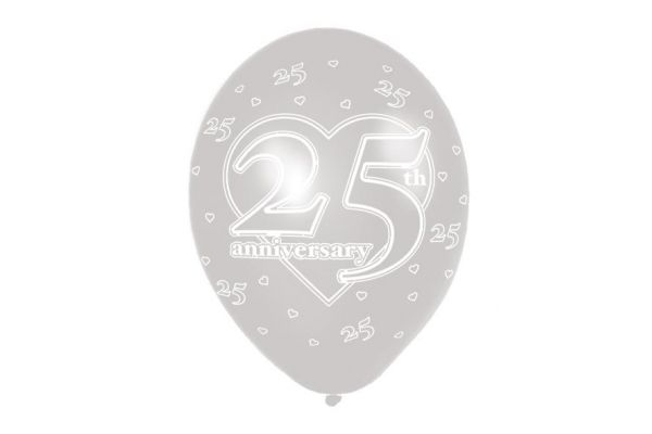 11 Inch 25th Anniversary Balloons (packquantity6)