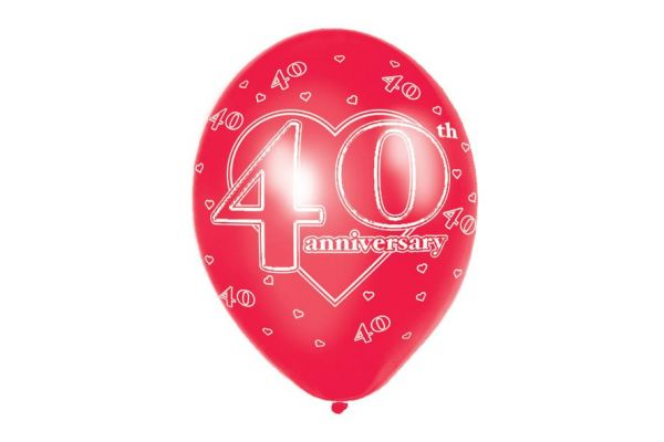 11 Inch 40th Anniversary Balloons (pack quantity 6)