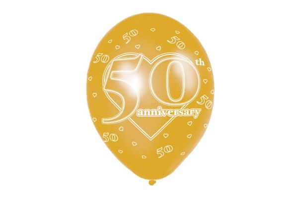 11 Inch 50th Anniversary Balloons (packquantity6)