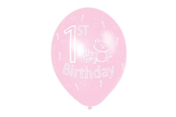 11 Inch 1st Birthday Pink Balloons (packquantity6)