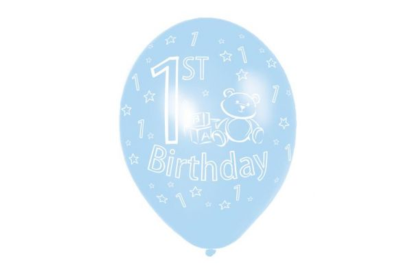 11 Inch 1st Birthday Blue Balloons (packquantity6)