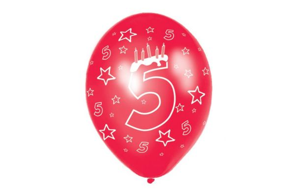 11 Inch 5th Birthday Balloons (pack quantity 6)