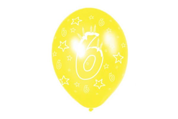 11 Inch 6th Birthday Balloons (pack quantity 6)