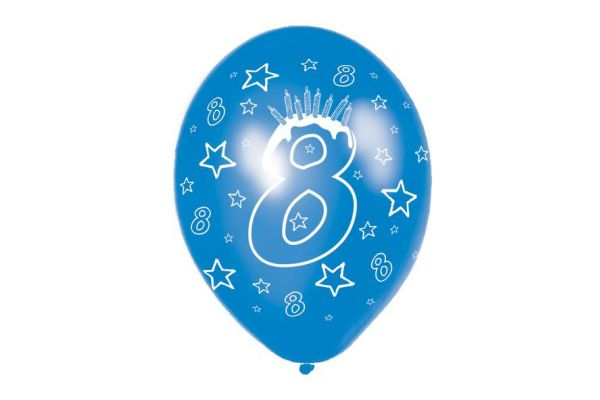11 Inch 8th Birthday Balloons (pack quantity 6)
