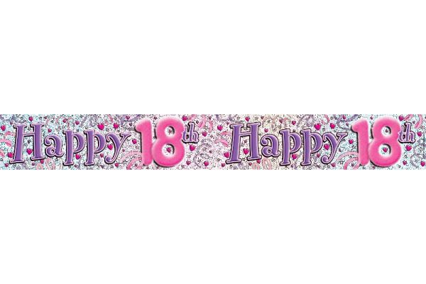 18th Streamers & Hearts 9ft Banner