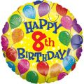 Happy 8th Birthday 18 Inch Foil Balloon