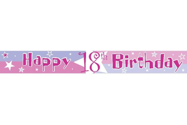 18th Birthday Pink Party Banner