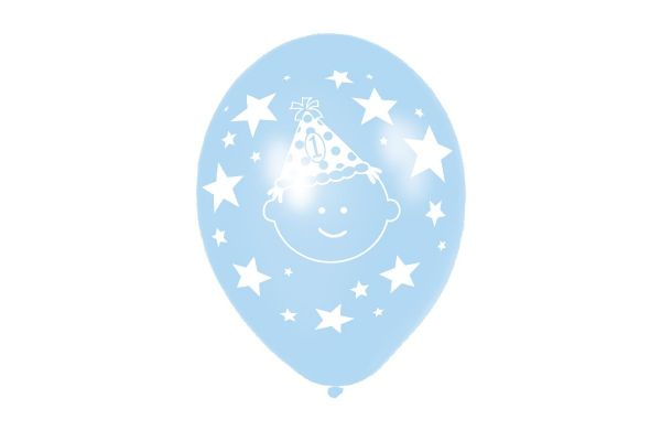 1st Birthday Boy 11 Inch Latex Balloons (pack quantity 6)