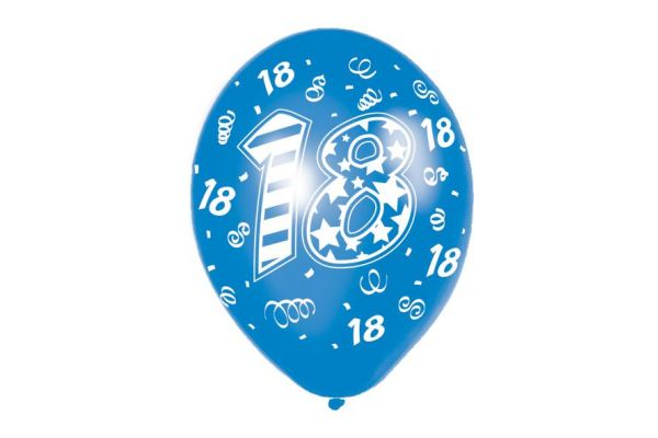 18th Birthday Male 11 Inch Balloons (packquantity6)