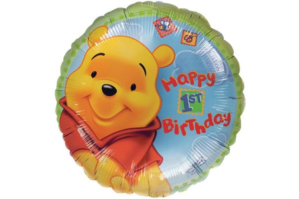 1st Birthday Pooh 18 Inch Foil Balloon