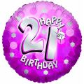 Sparkle Pink 21st 18 Inch Foil Balloon