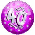 Sparkle Pink 40th 18 Inch Foil Balloon