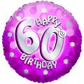 Sparkle Pink 60th 18 Inch Foil Balloon