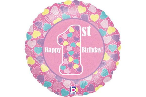 1st Birthday Girl Holographic 18 Inch Foil Balloon