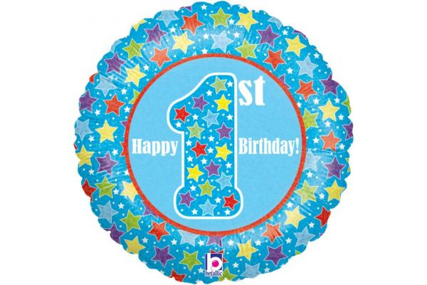 1st Birthday Boy Holographic 18 Inch Foil Balloon