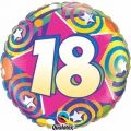 18th Stars/swirls 18 Inch Foil Balloon