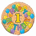 Festive 1st Birthday 18 Inch Foil Balloon