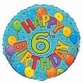 Festive 6th Birthday 18 Inch Foil Balloon